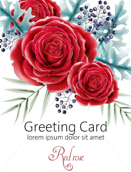 Watercolor greeting card with red rose flowers, green leaves and berries. Place for text. Vector - Starpik Stock