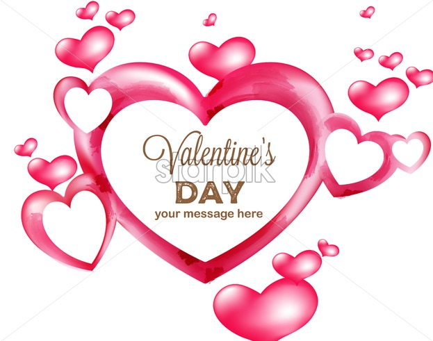 Watercolor heart balloons of various size flying. Place for text. Valentines love day vector - Starpik Stock