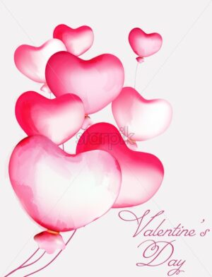 Watercolor heart balloons of various size flying. Valentines love day vector - Starpik Stock
