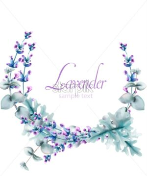 Watercolor lavender flowers wreath with green leaves and place for text. Vector - Starpik Stock