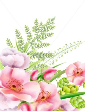 Watercolor peony flowers with artichoke and green leaves. Spring vector - Starpik Stock