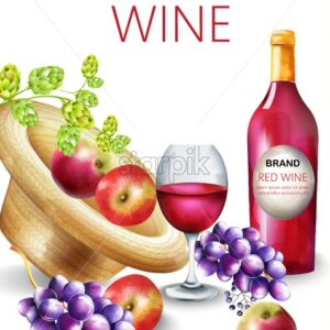 Watercolor red wine composition with bottle, grapes, apple, artichoke, berries and filled glass. Place for text and brand. Vector - Starpik Stock