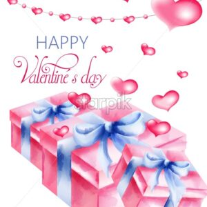 Watercolor rose gift boxes with blue ribbon. Hearts flying above. Happy valentines day vector - Starpik Stock