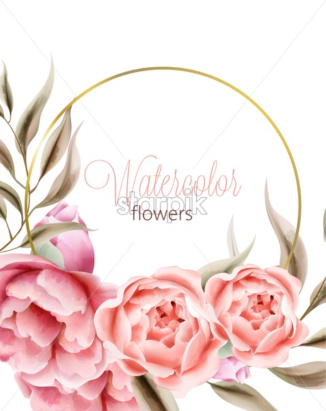 Watercolor rose peonies flowers with brown leaves on background. Wreath with place for text. Vector - Starpik Stock