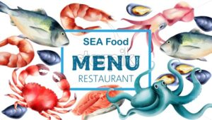 Watercolor sea food menu with fresh fish and mollusc. Shrimp, steak, crab, oysters, octopus. Vector - Starpik Stock
