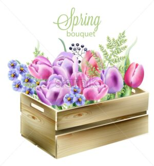 Watercolor spring bouquet in a wooden box. Orchid, bluebells, berries, green leaves and tulips. Watercolor vector - Starpik Stock