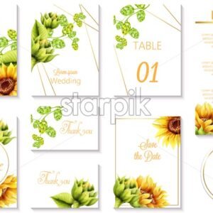 Watercolor spring wedding event invitation cards with green artichoke and sunflower. Vector set - Starpik Stock