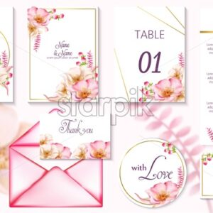 Watercolor spring wedding event invitation cards with pink flowers in blossom. Vector set - Starpik Stock