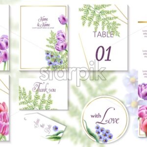 Watercolor spring wedding event invitation cards with tulip and bluebell flowers. Vector set - Starpik Stock