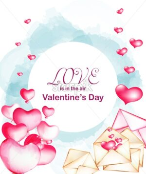 Watercolor style Valentines day composition with blue background, flying balloons and love letters. Place for text. Vector - Starpik Stock