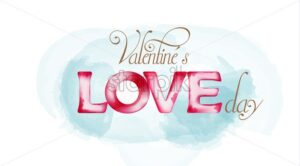 Watercolor style Valentines love day vector with blue background - Starpik Stock