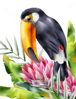 Watercolor tucano bird sitting in tropical flowers and green leaves. Vector - Starpik Stock
