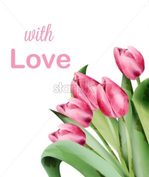 Watercolor tulip pink flowers invitation card with place for text. Vector - Starpik Stock