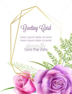 Watercolor wedding card with rose flowers and green leaves. Place for text. Spring Vector - Starpik Stock