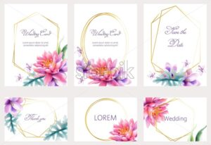 Watercolor wedding cards set with lotus and lily flowers. Place for text. Vector - Starpik Stock