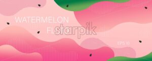 Watermelon colors flat style waves and curls. Fluid dynamic vector - Starpik Stock