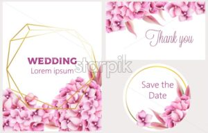 Wedding invitation card set with orchid flowers and pentagon, circle frame. Place for text. Watercolor vector - Starpik Stock