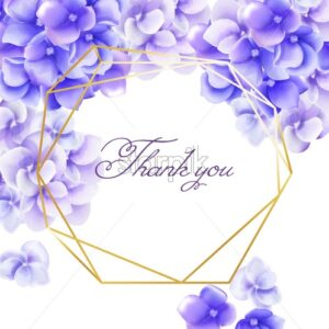 Wedding invitation card thank you with watercolor vibrant violet flowers. Spring Vector - Starpik Stock