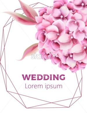 Wedding invitation card with orchid flowers and pentagon frame. Watercolor vector - Starpik Stock