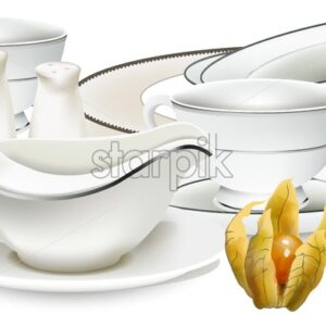 White classic style porcelain dishes with gravy boat, tea cups, salt dispenser and plates. Cape gooseberry on table. Vector - Starpik Stock