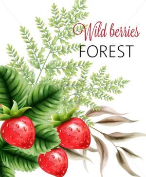 Wild berries forest with watercolor strawberries and green leaves. Vector - Starpik Stock