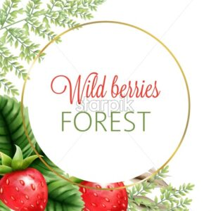 Wild berries forest wreath with watercolor strawberries and green leaves. Vector - Starpik Stock