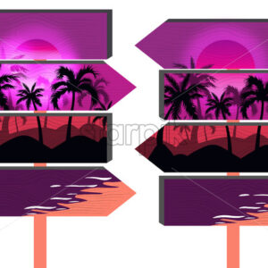 Wooden purple beach signs with palm trees and vibrant pink sky. Vector - Starpik Stock