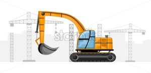 Yellow excavator with crane on background. Construction vector - Starpik Stock