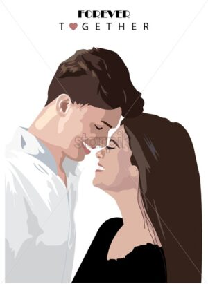 Young couple smiling at each other. Preparing tot kiss. Forever together text. Love Day vector - Starpik Stock