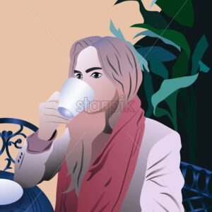 Young girl drinking coffee at a terrace. Vector illustration - Starpik Stock