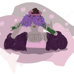 Young girl holding lavender flowers on the eyes, covering herself. Wearing pink clothes. Abstract Vector - Starpik Stock