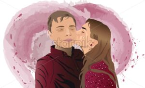 Young girl kissing his boyfriend on the cheek. Colorful drawing on background. Valentines day idea - Starpik Stock