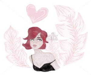 Young girl with pink rose feathers and red hair dreaming about love. Heart shape above her head. Abstract idea. Valentines day Vector - Starpik Stock