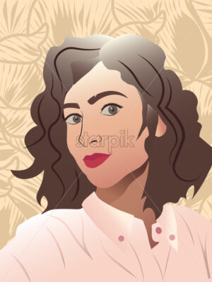 Young lady with red lips, curly hair and rose shirt smiling. Floral ornaments on background - Starpik Stock