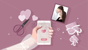 Young woman holding smart phone with romantic day composition. Scrolling a fest site. Gift boxes, scissors and other decorations. Love Day vector - Starpik Stock