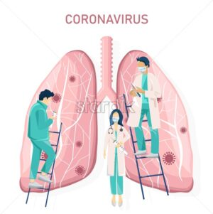 Corona virus lungs effect research. Doctor analyzing data. Medical clinique laboratory Vector illustration - Starpik Stock