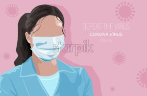 Doctor Woman in mask vector flat style. Virus infectious disease epidemiology - Starpik Stock