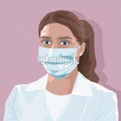Doctor Woman in mask vector flat style. Virus infectious disease epidemiology illustrations - Starpik Stock