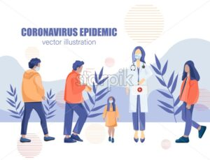 Doctor advise people not walk outside during pandemic infection. Health care medical prescription. Infectious desease spreading Vector - Starpik Stock