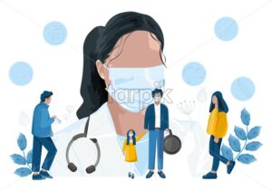 Doctor in mask advise people about pandemic infection. Corona virus spread. Carantine measures Vector illustration - Starpik Stock