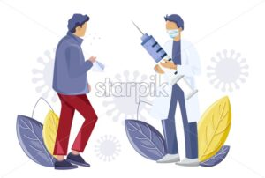 Doctor syringe vaccination to stop virus spread Vector illustration - Starpik Stock