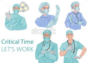 Doctors fighting against corona virus Vector icons. Pandemic epidemiology infectious diseases illustration - Starpik Stock