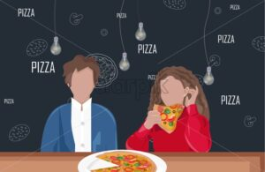 Man and woman on a date at a pizza restaurant Vector flat style - Starpik Stock