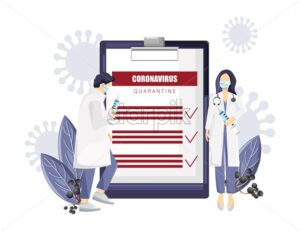 Mobile application corona virus worldwide research. Doctor analyzing data. Medical clinique laboratory Vector illustration - Starpik Stock