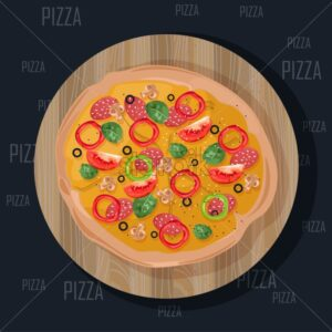 Pizza on black background. Delicious vector flat style illustration - Starpik Stock