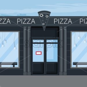 Pizza restaurant facade Vector flat style. Modern cafe icon - Starpik Stock
