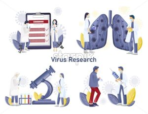 Virus research medical care. Mobile app developing new technology. Medical clinique laboratory Vector illustration - Starpik Stock