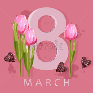 8 march greeting card with rose tulip flowers and hearts. Colorful pink background. Vector - Starpik Stock