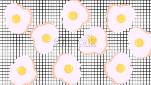 Abstract composition of fried eggs on squared background. Vector - Starpik Stock