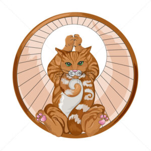 Abstract ginger cat in a spinning wheel holding a yoga pose. vector - Starpik Stock